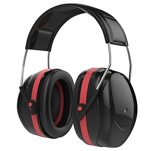 MoKo Orejeras de Protección, NRR 35dB Protección Auditiva Reducir Decibelios de Ruido, Audífonos Protección Orejeras Plegables de Seguridad Ajustable para oreja/Disparos Protector Auditivo, Negro+Rojo
