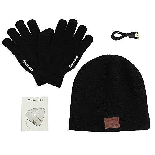 Anpress senza fili Bluetooth Beanie Cappello + Touch Screen Guanti, Cappello lavorato a maglia...