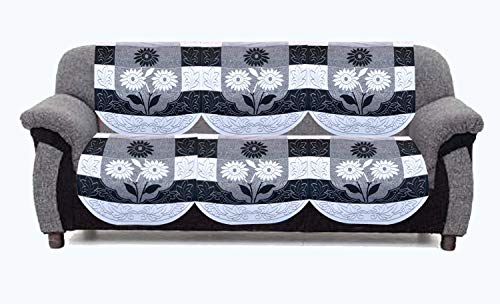 """Kuber Industries Side Flower Cotton 3 Seater Net Sofa Slip Cover, 70"""" x 29"""", Set of 2, Black and White"""