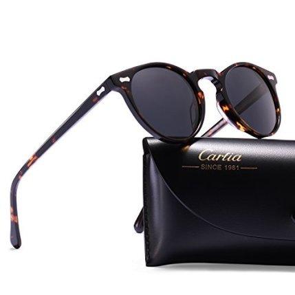 Carfia-Gafas-de-Sol-Polarizadas-mujer-hombre-Retro-Estilo-gafas-UV400-gafas-de-sol-para-conducir-viajes-playa-Marco-de-la-tortuga-lente-gris