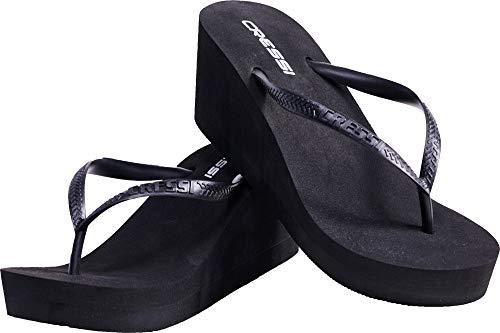 Cressi Lady Flops Marbella High Heel, Ciabatta Infradito Donna, Nero, 39/40