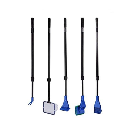 UEETEK 5 en 1 acuario pecera Kit Set herramientas esponja de cepillo limpieza de para peces tanque vidrio limpieza (azul + negro)