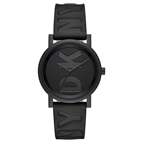 DKNY Damen-Uhren Analog Quarz One Size Schwarz Leder 32001023