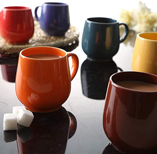 JRP MART Multi Color Oval Ceramic Tea Cups/Coffee Mugs - Set of 6
