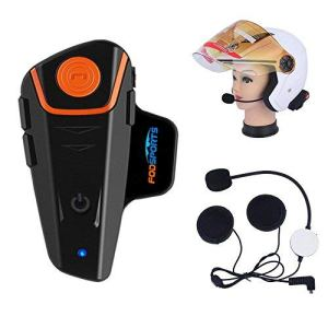 Fodsports BT-S2 Bluetooth Motorrad Intercom Headset Wasserdicht Helm Gegensprechanlage Wireless Sprechanlage mit 1000m, GPS, FM Radio, MP3 Player 3