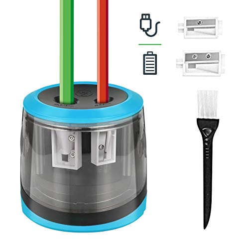 Elektrischer Anspitzer, HOMMINI Automatischer Bleistiftanspitzer mit Zwei Löchern, Pencil Sharpener Arbeitet mit USB oder Batterie mit 2 Klingen, Perfekt für Kinder Büro und Home