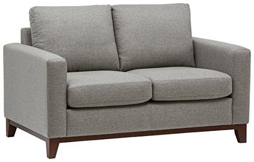 Marchio Amazon -Rivet, divanetto amorino con base esposta in legno, modello North End, larghezza 150 cm, tessuto grigio