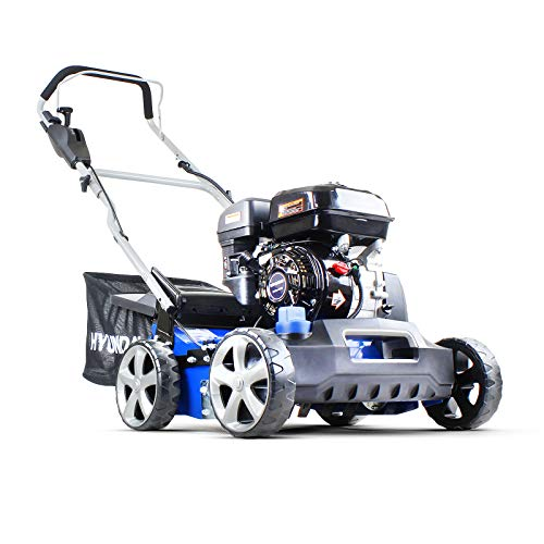 The Hyundai 210cc 400mm Petrol Lawn Scarifier & Aerator is created to deal with lawns in bad conditions. It is powerful enough to dig deep and remove layers that have been preventing nutrients from getting to the grass. This unit is powered by an OVH 4-stroke engine with a capacity of 210cc. compared to our other petrol model in this review, this unit is much stronger. It is a low-fuel-consumption unit which will prove economical in the long run.