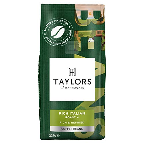 Taylors of Harrogate Rich Italian coffee beans (a almond, chocolate notes, rich flavour coffee with aromas of dried fruit and chocolate, fresh fruit and petals, nutty)