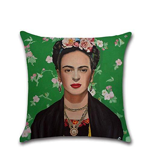 WESEEDOO Funda De Cojín Funda De Almohada Frida Kahlo Autorretrato Funda con Cremallera Ama De Casa Sofá para La Decoración del Hogar