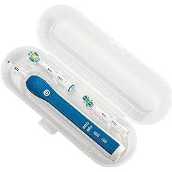 Nincha Elektrische Zahnbürsten-Etui Reise-Etui für Braun Oral b Elektrische Zahnbürste Serie Kunststoff Ersatz Etui für 1 Handstück und 2 Aufsteckbürsten (transparent)