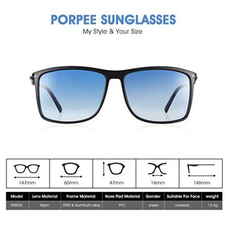 PORPEE-Gafas-de-Sol-Hombre-Mujer-Polarizadas-Sper-Ligero-Al-Mg-Marco-De-Metal-Nylon-Polarizado-HD-100-UV400-Protection