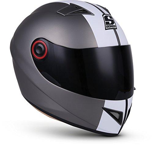 SOXON ST-666 Deluxe Integral-Helm Roller-Helm Scooter-Helm Sturz-Helm Cruiser Sport Motorrad-Helm Helmet Urban, ECE Zertifiziert, inkl. Stofftragetasche 1