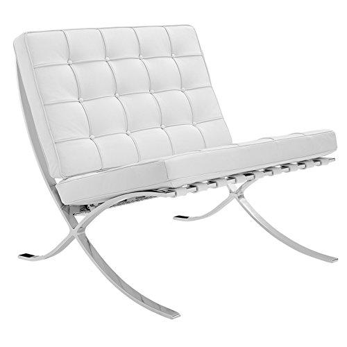 Furnwise Sedia in pelleBarcelona, di ispirazione Mies van der Rohe White