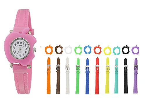 TONSY Watch for Girl's Analogue White Dial Girl's & Boy's Watch with 11 Interchangeable Dial and Colour Strap Kids Watch for Girls
