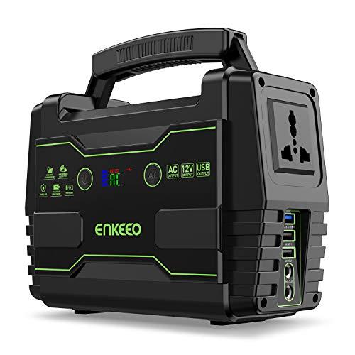 ENKEEO Accumulatore di Energia 155wh, Caricabatteria Portatile Potente, Ricaricabile a Generatore Solare Portatile, Power-Saving con 1 Uscita AC 2 DC e 3 Porte USB QC3.0