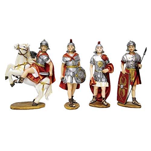 Milo srl Soldati Romani H 20 Cm in Poliresina Statuine per Presepe 4 Pz Natività