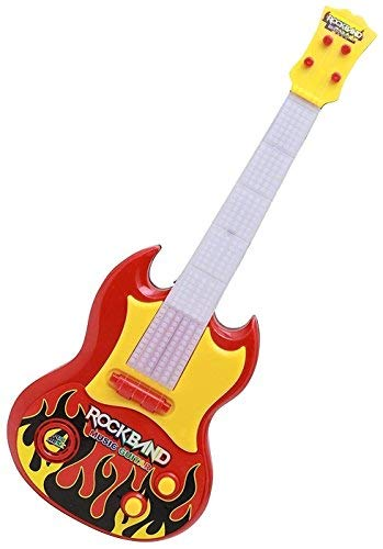 Toyshine Guitar Toy, 17 Inches, Battery Operated with Music and Lights, Red Yellow