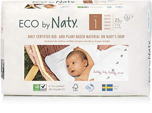 Eco by Naty, Taglia 1, 100 pannolini, 2-5kg, fornitura di UN MESE, Pannolino ecologico premium a base vegetale con lo 0% di plastica a base di petrolio sulla pelle.