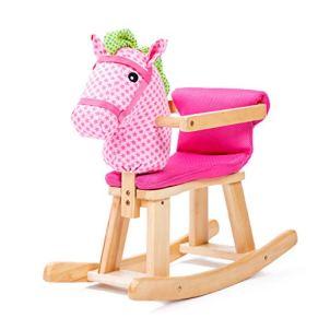 Caballo de madera para niños Caballo Mecedora con barandilla Madera Maciza Música Caballo Mecedora Juguete para bebés…
