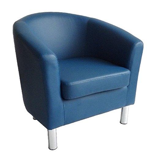Poltrona di design a pozzetto in pelle per sala da pranzo, soggiorno, ufficio, reception 66 x 68 x 72 cm Royal Blue