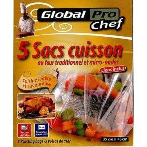 GLOBAL PLASTICS Sacchetti per cottura al forno tradizionale e al microonde, 1 confezione da 5