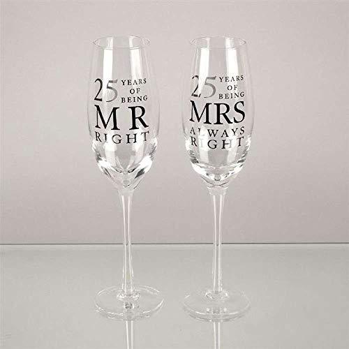 Set da 2 flûte da champagne, per 25° anno di matrimonio, in confezione regalo