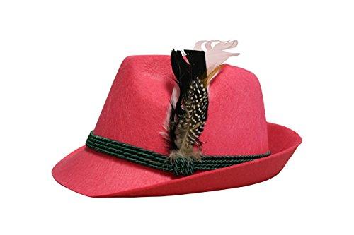 Trachten Filzhut mit echter Feder, Farbe pink