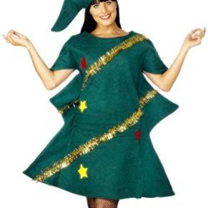 Smiffys-28265 Disfraz de árbol de Navidad, con túnica y Gorro, Color Verde, Tamaño único (Smiffy'S 28265)