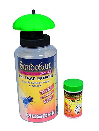 Sandokan 7646 - Trappola ecologica, cattura mosche e mosconi compreso di  attrattivi non tossici, per spazi esterni. ( 1 bio trappola + 1 confezione di attrattivi )