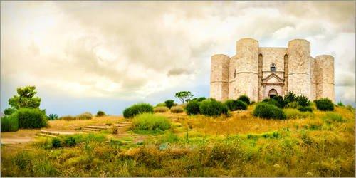 Stampa su Tela 100 x 50 cm: Castel del Monte in Apulia di Editors Choice - Poster Pronti, Foto su Telaio, Foto su Vera Tela, Stampa su Tela