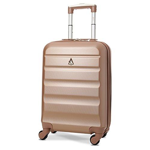 Trolley Aerolite ABS - bagaglio a mano 55x35x20 cm - Valigia rigida con 4 ruote (Rosa Oro). Ideale a...