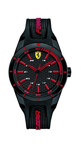 Orologio unisex analogico al quarzo cinturino in silicone nero e rosso, Scuderia Ferrari 0840004