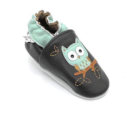 LEPEPPE - ANCHE PER Adulto Scarpine in Pelle Prima Infanzia - Pantofole Babucce - - Primi Passi Fino al 44!!! Gufi (6XL (22,5 cm di Suola))