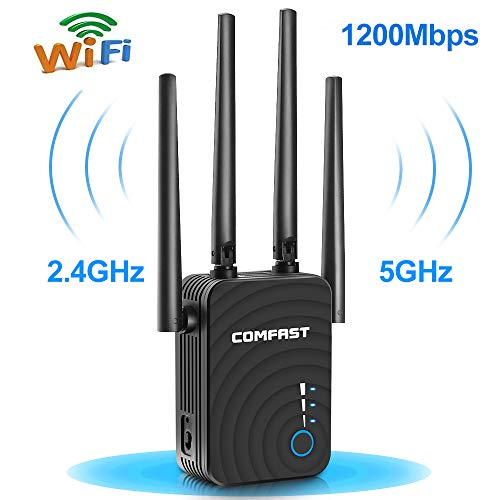 Ripetitore WiFi, 1200Mbps WiFi Extender Dual Band 5GHz 867Mbit/s 2.4GHz 300Mbit/s Amplificatore WiFi...
