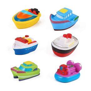RIsxffp 6Pcs Mini Juguetes de Baño, Juguete Flotante Colorido del Juego del Agua de la Piscina de la Tina de baño del PVC del Barco del bebé del bebé 6pcs