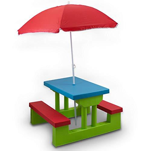 Bituxx Kindersitzgruppe Kindertisch Kindermöbel für innen und außen mit Sonnenschirm