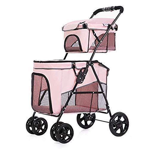 LMCWSTC Double Pet Stroller, Faltbarer 4-Runden-Kinderwagen for Katzen und Hunde, Geeignet for kleine und mittlere Hunde und Katzen, Outdoor-Reisen (Blau, Pink) (Color : Pink)