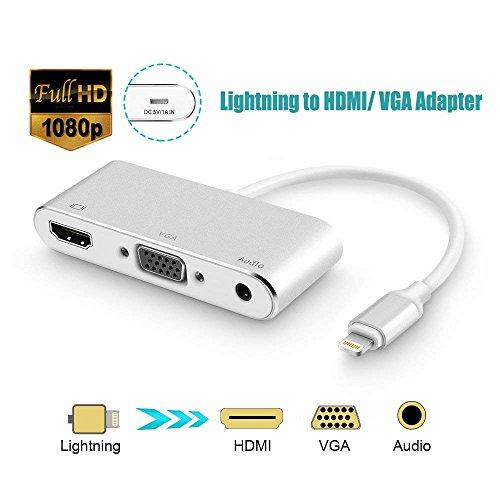 Tobo HDMI VGA AV Adapter Converter, Digital AV Adapter Compatible with iPhone Xs Max XR 8 7 6s Plus 6 iPad iPod to HDTV Projector Monitor(P32)