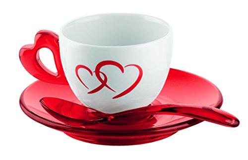 Guzzini Love Set 2 Tazzine Caffe con Piattini e Cucchiaini, Porcellana, Rosso Trasparente, 17x25x9...