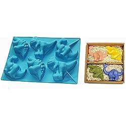 FantasyDay Premium Antiadherente Moldes para Tartas, Moldes de Silicona para Caramelos, Chocolate, Hornear, Tarta, Galletas, Jabón, Hielo - Cartón Dinosaurio