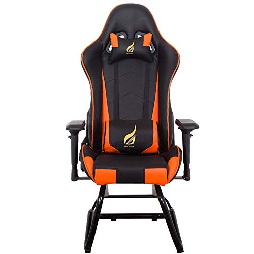 Sedia da gioco, YQAD Bow Sedia ergonomica a dondolo da scrivania Sedia da ufficio stile computer da corsa Poltrona reclinabile 900-150 / Cuscino collo reclinabile libero 4D Corrimano