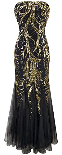 Angel-fashions Damen Ohne Arm Pailletten Baum Ast Net Meerjungfrau-Kleid-Kleid