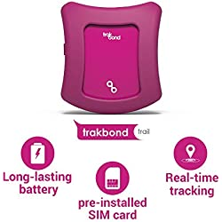 Trakbond GPS Tracker for Kids| Smallest Size| Accurate Live Tracking| Pre-Installed SIM Card| No Setup Required(Kids, Mystique Magenta)