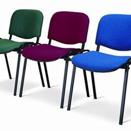 Sedia da Ufficio Poltrona Fissa per Sala Attesa Metallo e Cotone o Ecopelle