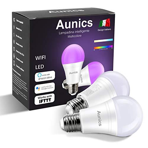 Lampadina intelligente Aunics 2 Pezzi Lampadina Smart per Alexa, Google Home, IFTTT, 7W E27, Colori...