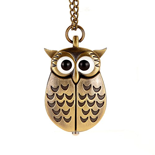 Awstech vintage lovely cartoon owl open wings pendant clock awstech vintage lovely cartoon owl open wings pendant clock bronze steel quartz fob pocket watch with chain clothing dress collocation best welcome gift mozeypictures Images