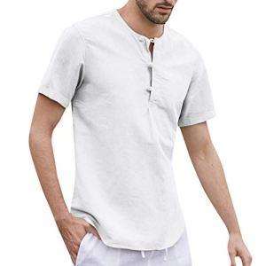UINGKID-Herren-T-Shirt-Kurzarm-Slim-fit-Baggy-Baumwolle-Leinen-Knopf-Solide-O-Neck-T-Shirts-Tops-Blusen