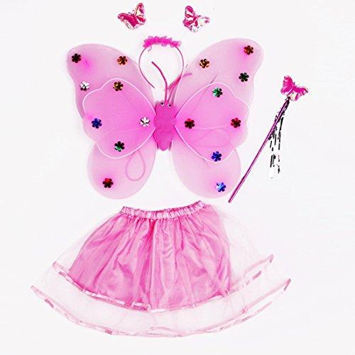 Disfraz de Hada Disfraz de Disfraz para niñas de 3-8 años Compuesto por Alas de Mariposa Diadema de Varita y Tutu Vestir Ideal (Rosa)