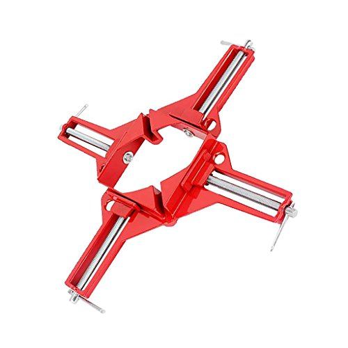 SHAFIRE 90-Degree Right Angle Metal Picture Frame Corner Clamp Holder Wood Working Hand Tool (Red) -Set of 2